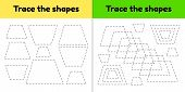Vector illustration. Educational tracing worksheet for kids kindergarten, preschool and school age. Trace the geometric shape.  Dashed lines. Trapezoid. poster