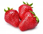 Fresh berry strawberry with green leaf. Fruity still life healthy food. Isolated on white background. poster