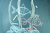 Two fishes, child's drawing with chalk poster