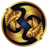 Golden pisces zodiac sign, gilt astrological icon, horoscope symbol. Stylized graphic two gold fish swimming in circle. Gilded fins, tail, yellow color body is decorated with geometric pattern. Vector poster