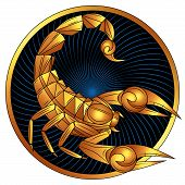 Scorpio zodiac sign of gold, astrological icon, horoscope symbol. Stylized graphic golden scorpion with gilded raised up sting and pincers, ready to attack. Gilt portrait scorpio in circle. Vector art poster