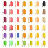Big colorful set different types natural ice cream, structure icecream various size. Icecream consisting of collection meal, ice cream for organic nutrition. Menu ice cream is yummy design icecream. poster