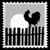 silhouette of the cock on postage stamps poster