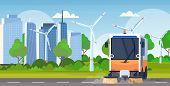 street sweeper truck machine cleaning process industrial vehicle urban road service concept wind tubines modern cityscape background horizontal flat poster