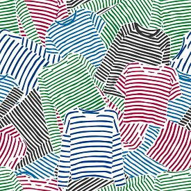 Hand Drawn Blue, Red And Green Striped Longsleeve T-shirts Seamless Pattern.