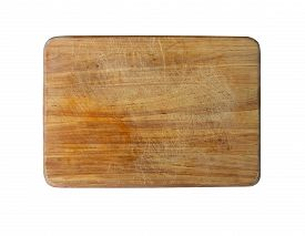 Vintage Wooden Cutting Board With Scratches On White Background. Flat Lay.