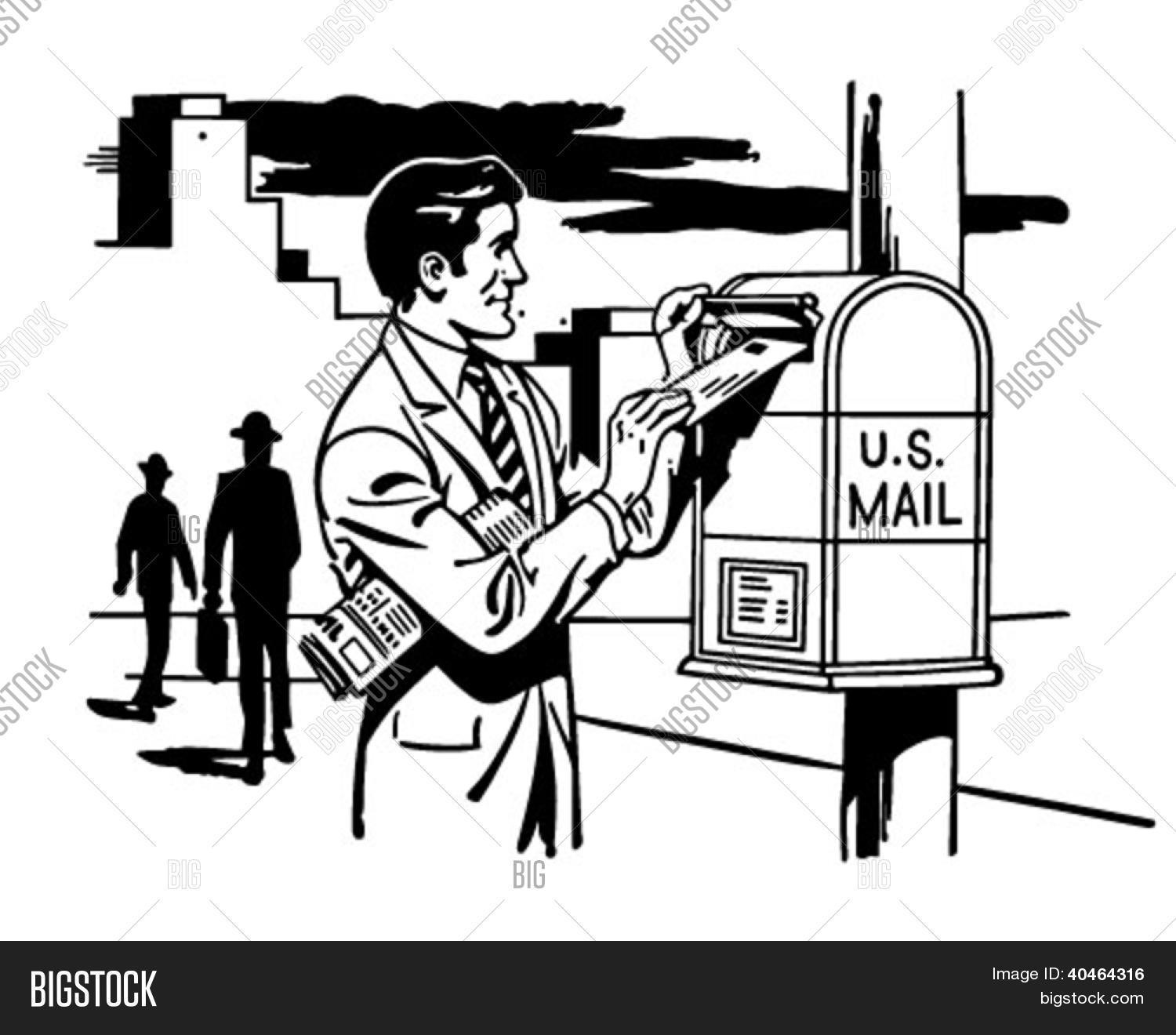 man mailing letter - vector & photo (free trial) | bigstock