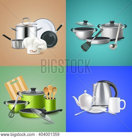 Realistic Kitchen Tools Design Concept Cookware Of Chef Green Culinary Set Kettle With Crockery Isol