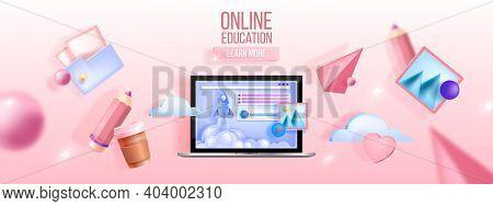 Online Education Vector Concept, E-learning, Computer Training, Remote Courses, Webinar Web Backgrou