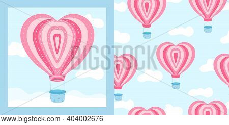 Cute Pink Air Ballon With Heart Shape In The Sky With Clouds Amd Seamless Pattern With It. Postcard