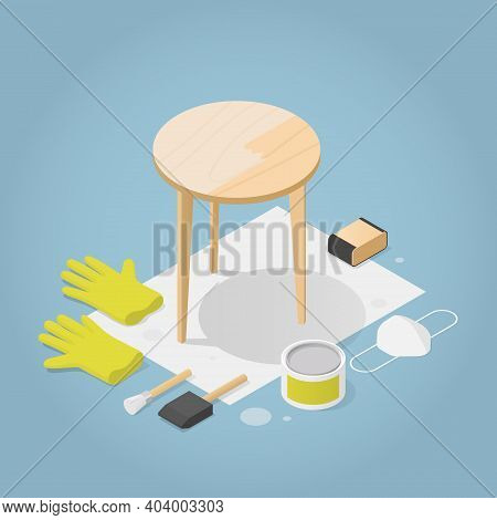 Vector Isometric Furniture Repair Illustration. Half Varnished Wooden Coffee Table With Tools Laying