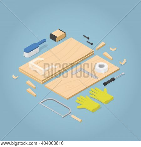 Vector Isometric Illustration Of Furniture Restoration. Furniture Boards With Woodwork Tools - Saw,