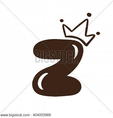 Vector Plump Vintage Cute Letter Z With Crown. Princess Element Font Logo. Valentine Hand Drawn Alph
