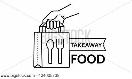 Food Delivery Paper Bag Hand Icon. Lunch Linear Style Sign For Mobile Concept And Web Design. Take A