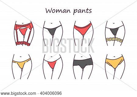 Lingerie Color Line Icons Set. Category Of Womens Clothing Including At Least Undergarments, Sleepwe
