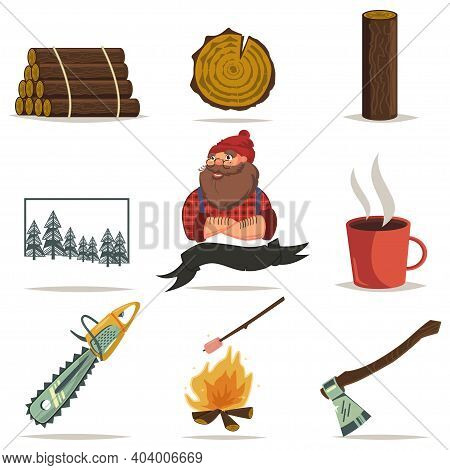 Lumberjack, Timber And Woodworking Tools Vector Cartoon Icons Set Isolated On White Background. Chai