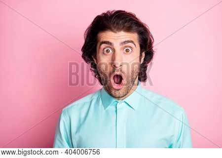 Photo Of Young Handsome Bristle Man Amazed Surprised Shocked News Gossip Isolated Over Pink Color Ba