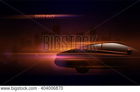 High Speed Race Hatchback Car Trailing Lights Motion Effect Realistic Composition In Night City Stre