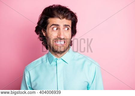 Photo Of Young Handsome Brown Hair Bristle Man Afraid Stressed Fail Feel Guilty Isolated Over Pink C
