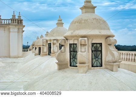 White Painted Domes And Rooftop Of Leon Cathedral Of The Assumption Of Mary