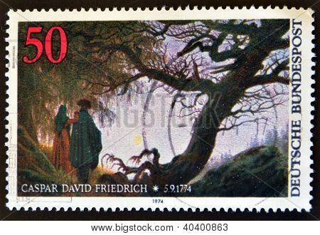 a stamp printed in Germany shows Man and Woman Looking at the Moon by Caspar David Friedrich
