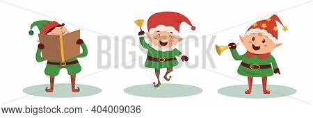Christmas Character In Gnome's Costume. Caroling Kids Set. Children Sing Christmas Songs And Carols