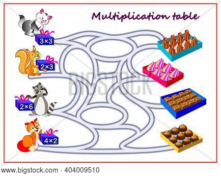 Multiplication Table With Maze For Kids. Count The Candies And Draw The Lines Till Boxes With Sweets