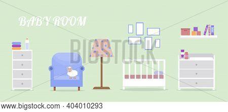 Newborn Room Interior. Children\'s Room For A Boy Or Girl. Newborn Baby Room Elements Set. Cute Vect