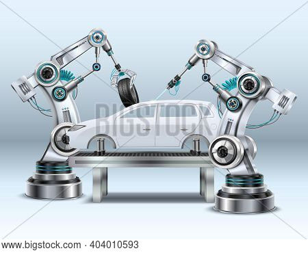 Robotic Arms In Car Assembly Line Manufacturing Process In Automotive Industry Realistic Composition