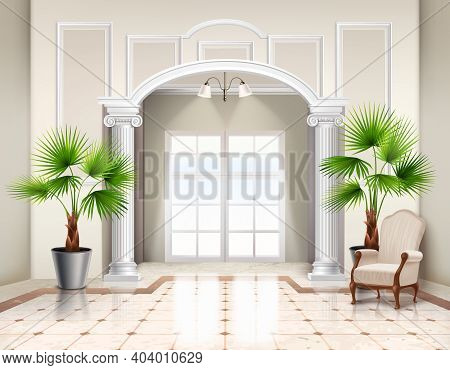 Indoor Potted Fan Palm Trees As Decorative Houseplants In Classic Spacious Vestibule Interior Design