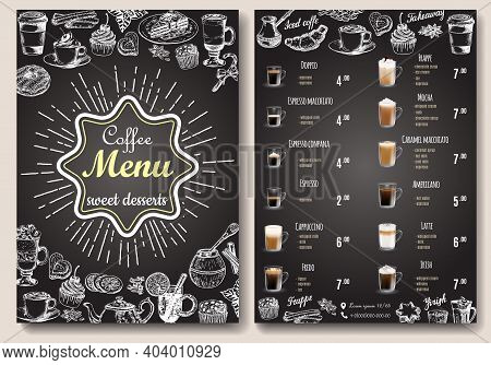 Coffee Menu Vector Template. Front And Back Sides A4 Paper Format Coffee Menu Price List On Chalkboa
