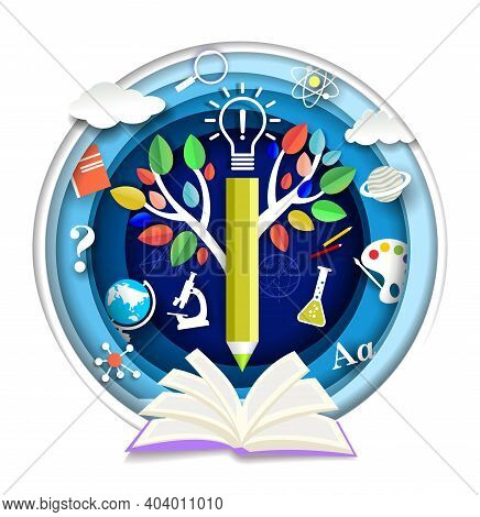 Paper Cut Open Book, Tree Of Knowledge, Science And School Subjects Symbols, Vector Illustration.