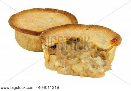 Baked Savoury Potato And Meat Filled Pies With Shortcrust Pastry Isolated On A White Background