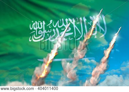 Saudi Arabia Ballistic Warhead Launch - Modern Strategic Nuclear Rocket Weapons Concept On Blue Sky