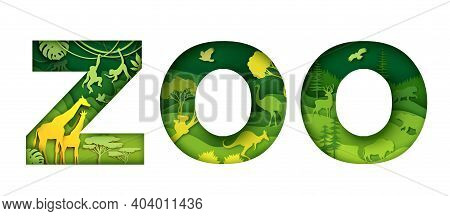 Wild Zoo Animals Typography Banner Template. Zoo Word With Paper Cut Safari Park, Australian, Leaf F