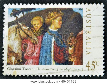 Stamp printed in Australia shows draw by Giovanni Toscani