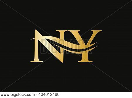 Letter Ny Logo Design For Business And Company Identity. Creative Ny Letter With Luxury Concept.