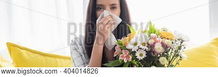 Allergic Woman Wiping Nose With Paper Napkin Near Flowers, Banner