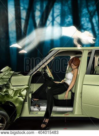 Soul Of A Dead Woman Leaving Her Body After A Car Crash, 3d Render.