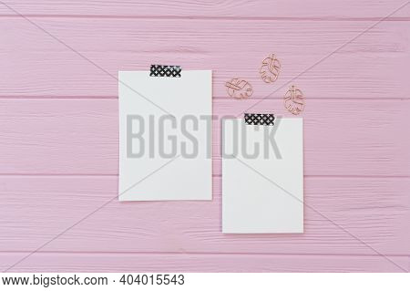 Pink Wooden Background With Two Sheet Of Mockup Papers With Place For Your Text With Monstera Leaf P