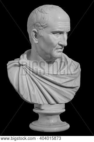 Ancient white marble sculpture bust of Cicero the politician, philosopher and orator lived in Ancient Rome