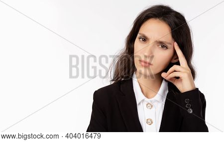 Businesswoman Thinking And Planning Of Business White Collar Worker Get Stressed Of Economy Crisis B
