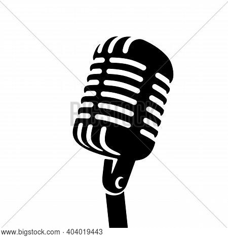 Black Retro Vintage Microphone On White Background Logo. Mic Silhouette Sign. Music, Voice, Record I