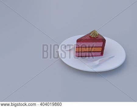 A Piece Of Cake Placed In A Plate,3d Illustration