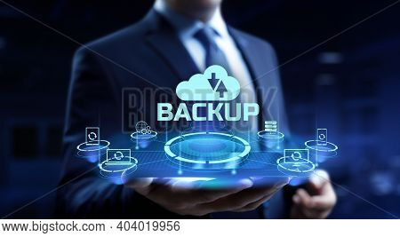 Backup Button Disaster Recovery Internet Technology Concept.