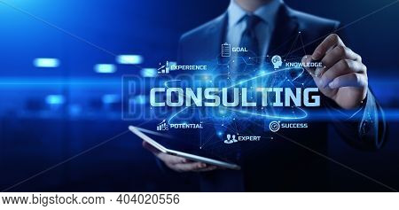 Consulting Expert Advice. Business Internet Technology Concept On Virtual Screen.