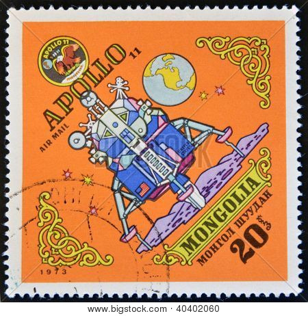 MONGOLIA - CIRCA 1973: A stamp printed in Mongolia shows Apollo 11 circa 1973