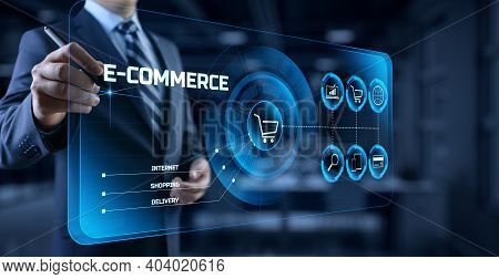 E-commerce Online Shopping Business Technology Concept On Screen.
