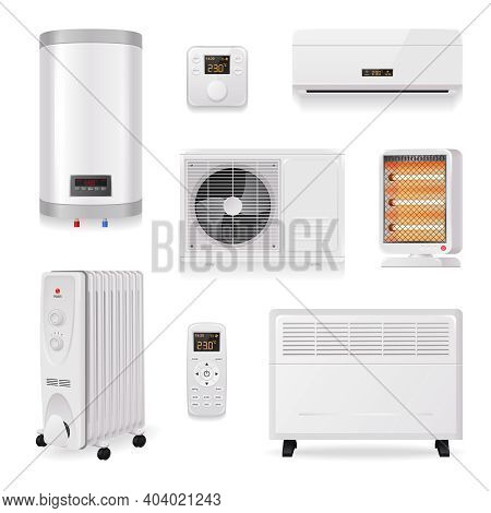 Climate Control Equipment Realistic Set With Air Conditioning Symbols Isolated Vector Illustration
