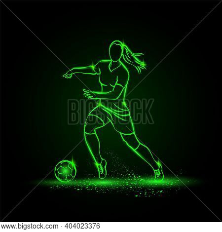 Women Soccer Player Dribbling With Ball. Vector Football Sport Green Neon Illustration.